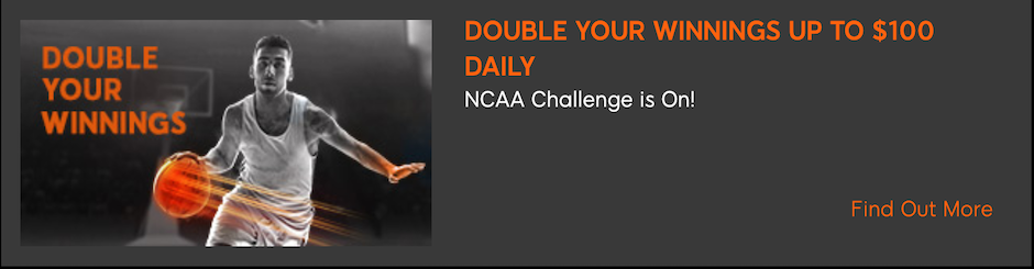 888 Sport Promo -  NCAA Basketball Challenge - Double Your Winnings up to $100 Daily